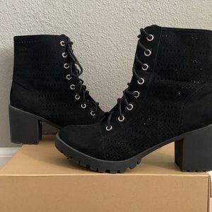 Women's Heeled Combat Boots BLACK